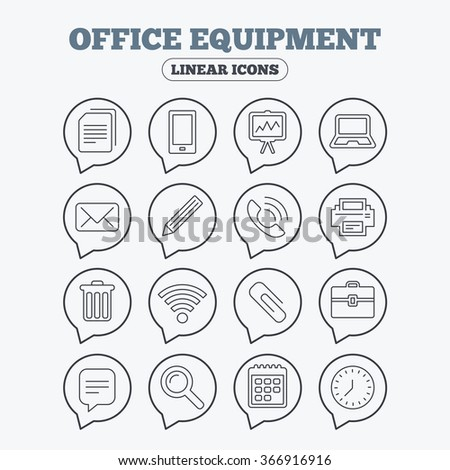 Office equipment icons. Computer, printer and smartphone. Wi-fi, chat speech bubble and copy documents. Presentation board, paperclip with pencil and magnifying glass. Linear icons in speech bubbles.