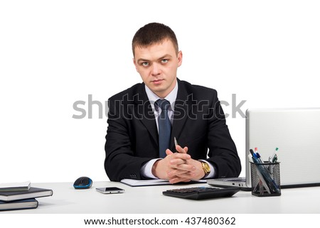 Office, finances, internet, business, success concept-Business man working with documents and laptop isolated on white background - stock photo