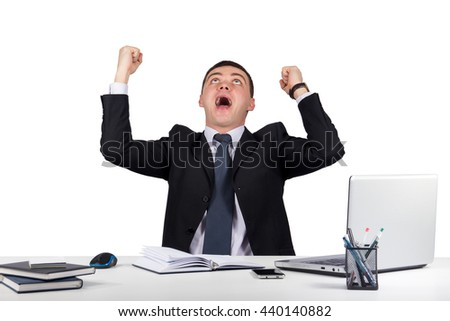 Office, finances, internet, business, success concept-happy young  businessman with his arms raised up isolated on white background - stock photo