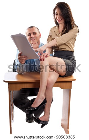 Office flirt with boss and secretary, isolated on white background