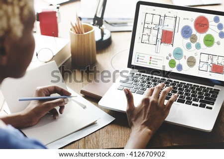 Office Floor Plan Sketch Drawing Concept - stock photo