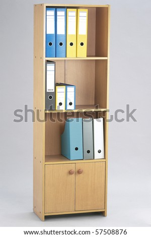 Office folders at the shelf. Organizer. - stock photo