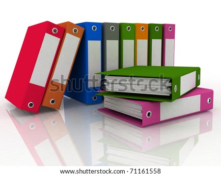 office folders for papers on a white background - stock photo