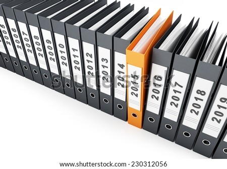 office folders new year 2015 on a white background  - stock photo