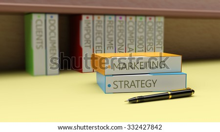 Office folders with text on business marketing - stock photo