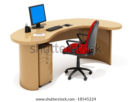 office furniture on white background - stock photo