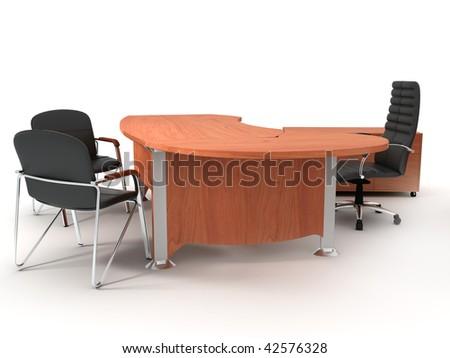 Office furniture set isolated on light background - stock photo