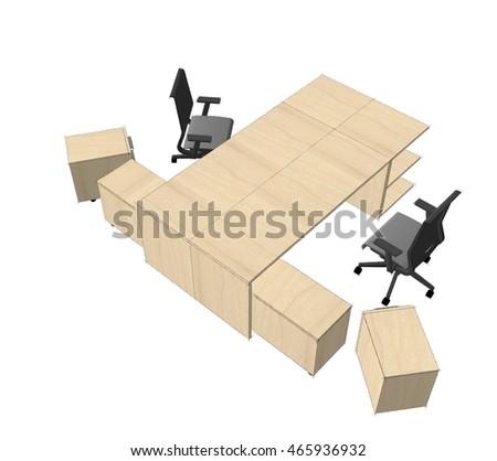 furniture sketch office furniture sketch 3d illustration stock illustration