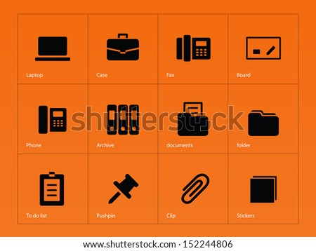 Office icons on orange background. See also vector version. - stock photo