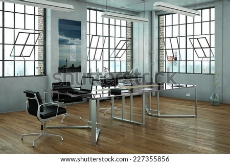 Office in a loft with glass desk and chairs (3D Rendering) - stock photo