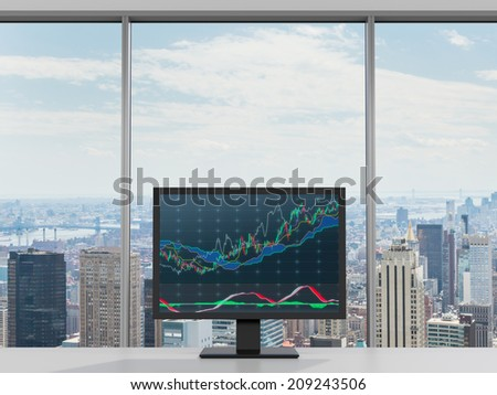 Office in a skyscraper, computer display with forex software on a table. - stock photo