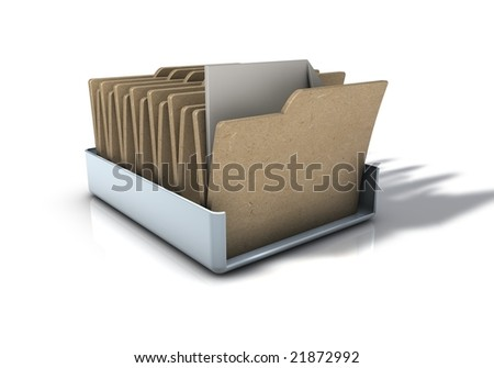 Office In tray Icon with folders - stock photo