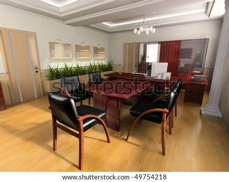 Office interior in classical style 3d image