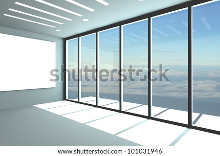 Office interior rendering with empty room color wall and decorated glass door with blue sky. - stock photo