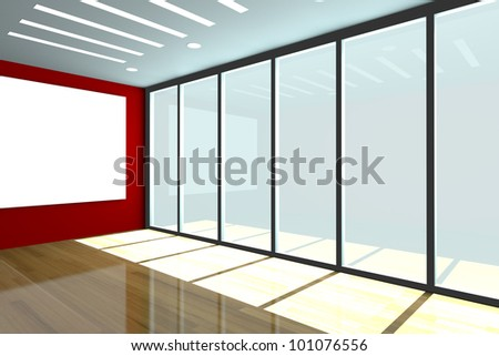 Office interior rendering with empty room color wall and decorated glass door with wood floor.