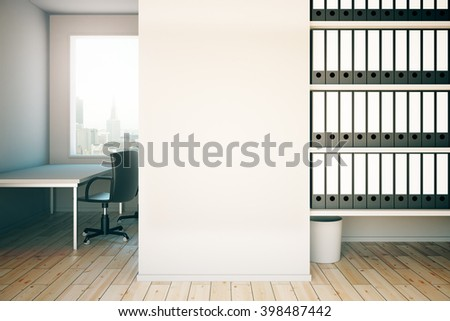 Office interior with empty concrete wall, workplace and shelves. Mock up, 3D Rendering - stock photo