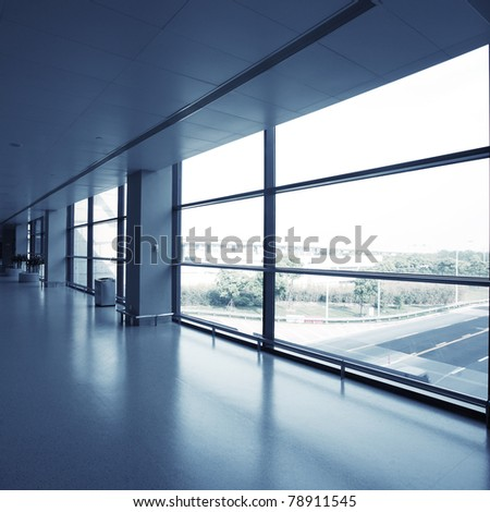 office interior with glass wall
