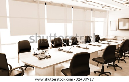 Office interior with leather furniture - stock photo