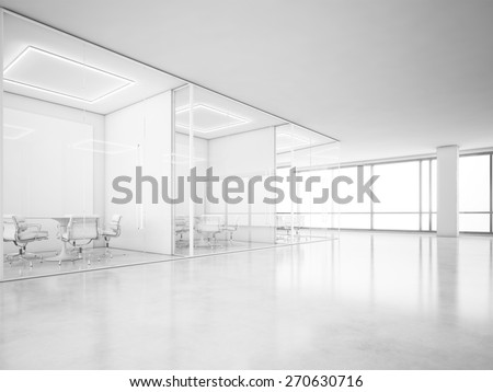 Office interior with panoramic windows. 3D rendering - stock photo