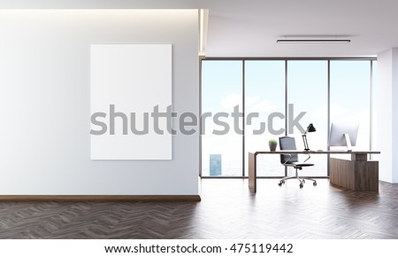Office interior with poster on wall, desk and computer on it. Concept of CEO workplace. 3d rendering. Mock up