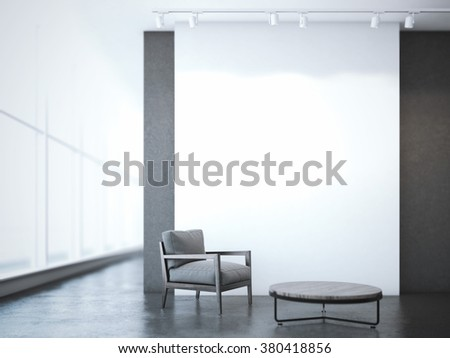 Office interior with table and armchair. 3d rendering - stock photo