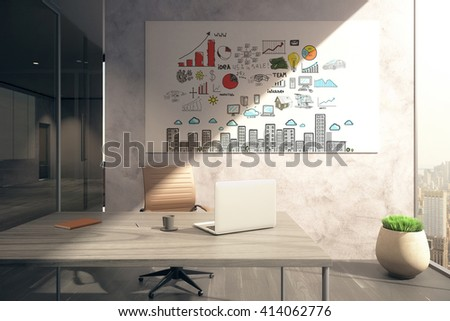 Office interior with workplace and business scheme on whiteboard. 3D Rendering - stock photo