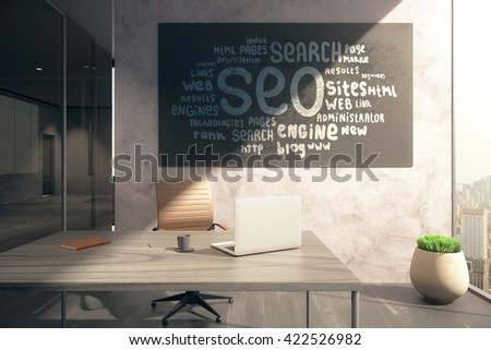 Office interior with workplace and SEO sketch on blackboard. 3D Rendering