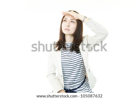 Office?lady?who thinks - stock photo