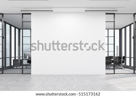 Office Lobby. Large White Wall Is In The Middle With Two Conference Rooms  By Both