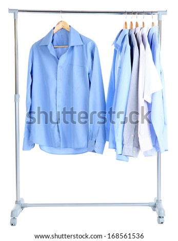 Office male clothes on hangers, isolated on white - stock photo