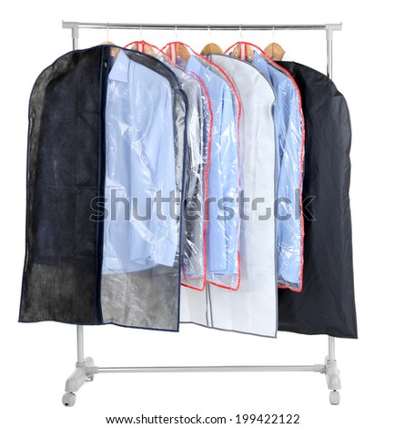 Office Male Shirts In Cases For Storing On Hangers, Isolated On White
