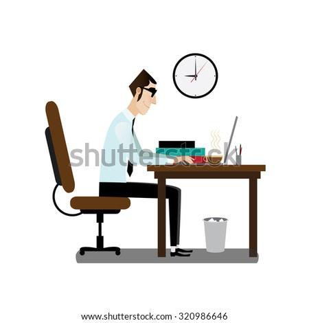 Office man sitting at working desk with coffee | raster version - stock photo