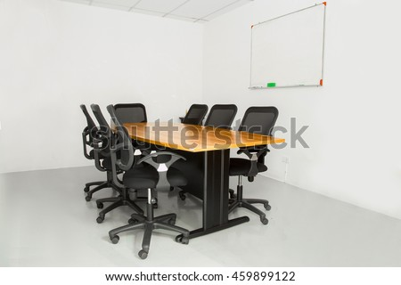 Office Meeting Table Chairs White Room Stock Photo Royalty Free - Office meeting table and chairs
