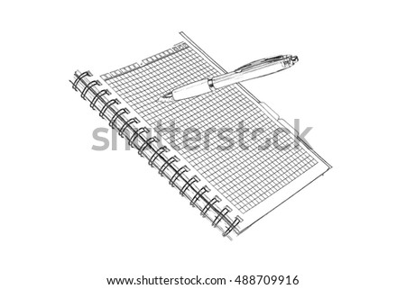 Office notebook isolated on the white background. Imitation of pencil drawing.