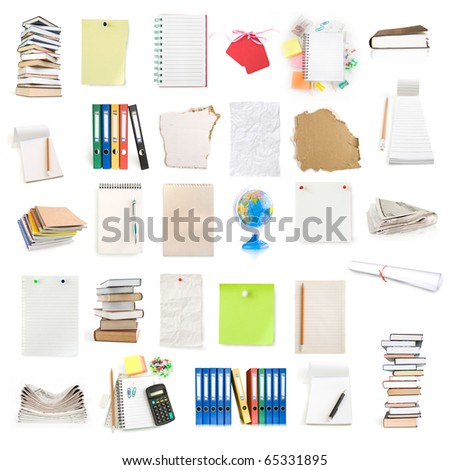 office objects collection isolated on white - stock photo