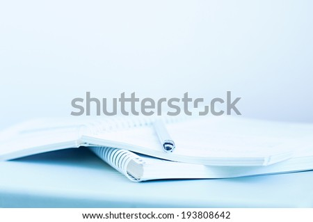 Office. Open book and pensil - stock photo
