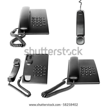 Office phone set isolated on white background - stock photo