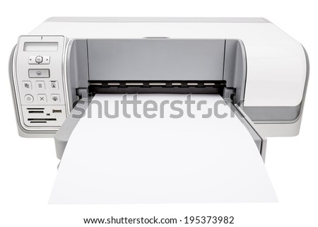 Office printer and blank paper for notes. On a white background. - stock photo