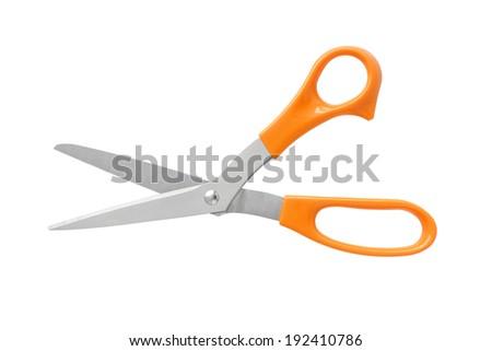 Office Scissors Orange Color Handle isolated on white background - stock photo