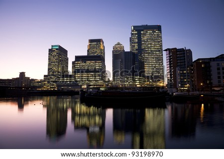 Office skyscrapers in Canary Wharf at Night. Canary Wharf is the main financial district at London