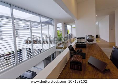 Office space in luxury home - stock photo