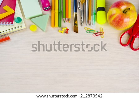 Office stationery supplies on table with copy space - stock photo