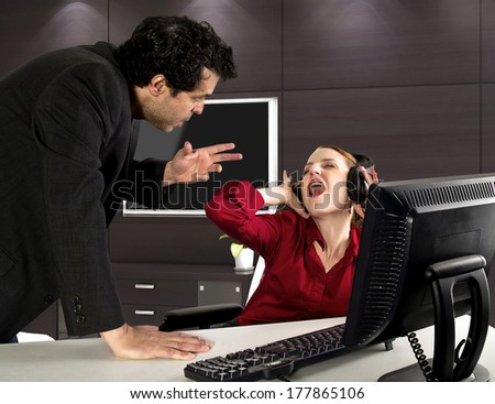 Office Stress. Getting busted on the job - stock photo