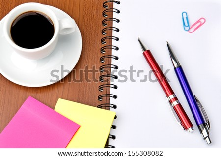 office supplies and coffee cup isolated on white background - stock photo