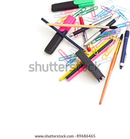 office supplies in a pile