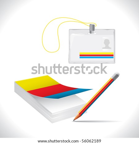 Office Supplies (notebook, pencil, name tag with space for your text)