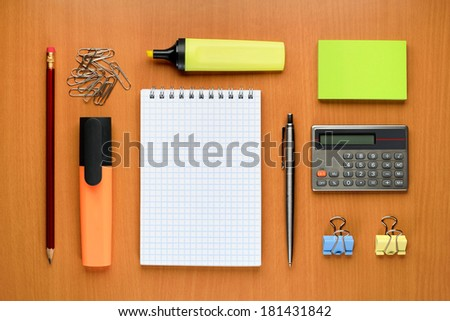 Office supplies on table - stock photo