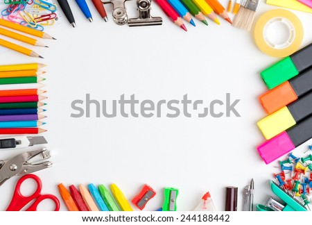 Office Supply Frame - stock photo