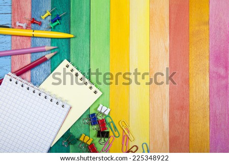 Office Supply  on a colored background - stock photo