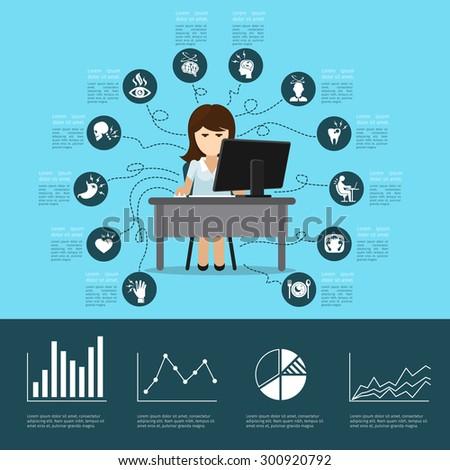 Office syndrome infographics. Computer and health, pain in back, headache and stress - stock photo